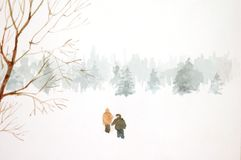 Couple in the Snow Royalty Free Stock Image