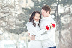 Couple on the snow Royalty Free Stock Image