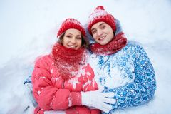 Couple in snow Royalty Free Stock Images