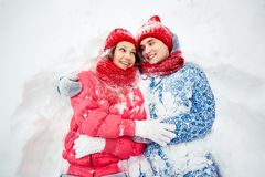 Couple in snow Royalty Free Stock Photography