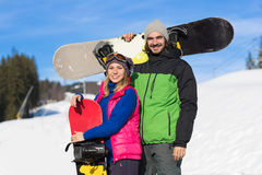Couple With Snowboard Ski Resort Snow Winter Mountain Smiling Man And Woman Extreme Sport Vacation Royalty Free Stock Image