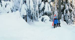 Couple with snowboard walking snow 4k. Couple with snowboard walking snow during winter 4k stock footage