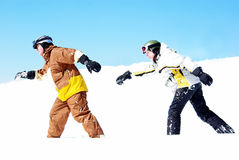 Couple of Snowboarders Stock Image