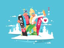 Couple snowboarders boy and girl Royalty Free Stock Images