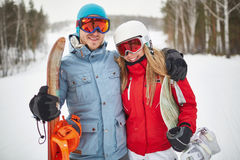 Couple of snowboarders Stock Photography