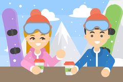 Couple with snowboards. Royalty Free Stock Photos