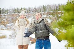 Couple in snowfall Stock Image