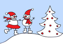 Couple of snowman Royalty Free Stock Images