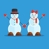 Couple of snowmen Royalty Free Stock Photos