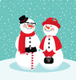 Couple of snowmen Royalty Free Stock Image