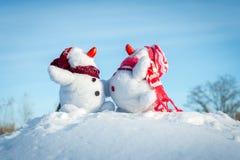 Couple of snowmen Royalty Free Stock Image