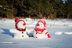 Couple of snowmen Stock Image