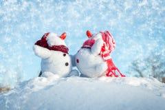 Couple of snowmen Stock Photography