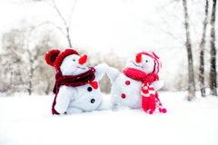 Couple of snowmen Royalty Free Stock Photo
