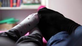 Couple socks stock video footage