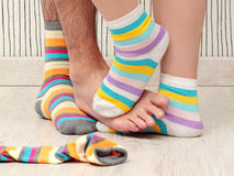 Couple in socks Stock Images