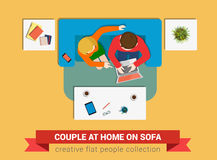 Couple on sofa with laptop in vector flat top view Stock Photos