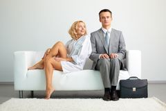 Couple on sofa Royalty Free Stock Photo
