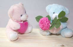 Couple of soft bears in love Stock Image