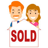 Couple with a Sold House Signage Stock Photos