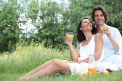 Couple som tycker om en picknick Royaltyfria Foton