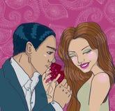 Couple som tycker om romantisk matställe Arkivbild