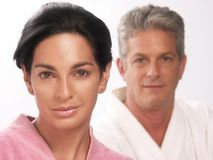 Couple and spa. Hispanic couple after bath and spa Stock Photos