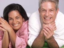 Couple and spa. Hispanic couple after bath and spa Stock Images