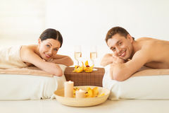 Couple in spa. Picture of couple in spa salon drinking champagne Royalty Free Stock Photo