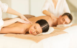 Couple in spa. Picture of couple in spa salon getting massage Royalty Free Stock Photo