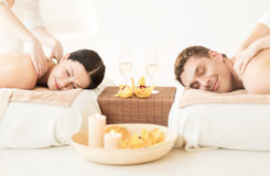 Couple in spa. Picture of couple in spa salon getting massage Stock Images