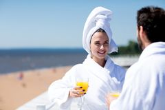Couple at spa resort Royalty Free Stock Images