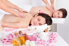 Couple in spa salon Royalty Free Stock Image