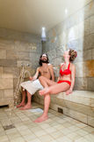 Couple in spa steam bath Royalty Free Stock Image