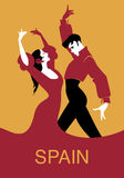 Couple of Spanish flamenco dancers. Stock Image