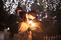 Couple with sparklers Royalty Free Stock Photos
