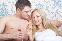 Couple with sparkling wine Royalty Free Stock Image