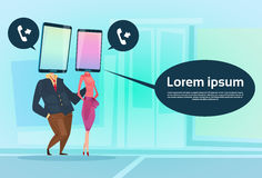 Couple Speak Cell Smart Phone Head Social Network Communication Royalty Free Stock Images