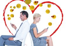 Couple speaking with the mobile and feeling love. Emoji. Digital composite of Couple speaking with the mobile and feeling love. Emoji Royalty Free Stock Photos