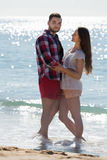 Couple spending free time at seaside Stock Images