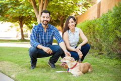 Couple spending some time with their dog Royalty Free Stock Image