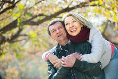 Couple spending time outdoors Royalty Free Stock Photos