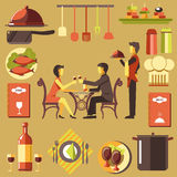 Couple Spending Time at Restaurant and Waiter near Royalty Free Stock Image