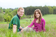 Couple spending time together in countryside Royalty Free Stock Images