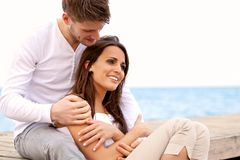 Couple Spending Time Together by the Sea Stock Image