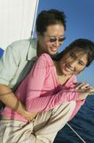 Couple Spending Time Together On The Yacht Stock Photo