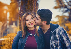 Couple spends time in the autumn park Royalty Free Stock Photography