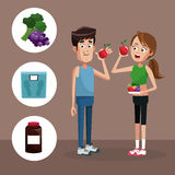 Couple sport eating healthy Stock Photography