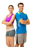 Couple In Sports Clothing Standing Back To Back Stock Photo