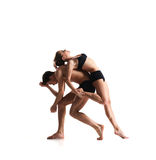 Couple of sporty ballet dancers in art performance Royalty Free Stock Photo